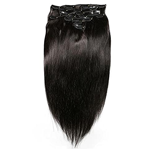 8 Teiliges Set Clip in Extensions Silky Straight 100% Remy