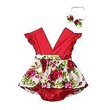 LEXUPE Säuglingsbaby-ärmelloser Bodysuit-Spielanzug mit Blumenmuster + Stirnband(Rot,70)