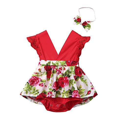 LEXUPE Säuglingsbaby-ärmelloser Bodysuit-Spielanzug mit Blumenmuster + Stirnband(Rot,100)