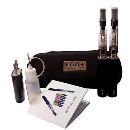 Kit doppio ego-t sigaretta elettronica ce4, evaporatore da 1,6 ml, batteria 2 x 650 mah, senza nicotina né tabacco (nero) (2 x nero 650 mah)