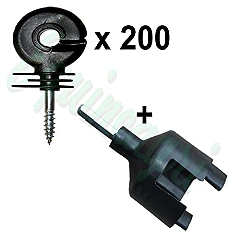 RING INSULATORS x 200 + Tool Electric Fencing Fence Screw In Type