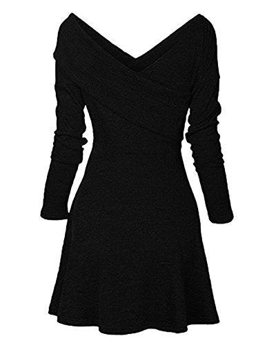 Minetom Damen Herbst Winter Strickkleid Casual Langarm Tunika Kleid Basic V-Ausschnitt Minikleid A-Linie Jumper Kleider Schwarz