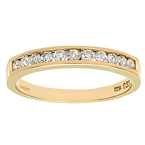 Naava Women's 9 ct Yellow Gold Third Carat Diamond Channel