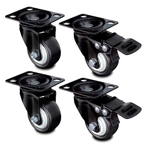 Nirox 4x Möbelrollen 50mm - Lenkrollen 2x Bremse - leises Abrollen, Räder laufspurenfrei - 70mm Gesamthöhe - Schwerlastrollen für Innen und Außen - Transportrollen bis 400kg