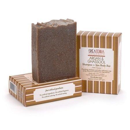Shea Terra Argan & Ghassool Shampoo + Spa Body Bar 4.5 oz. by Shea Terra Organics