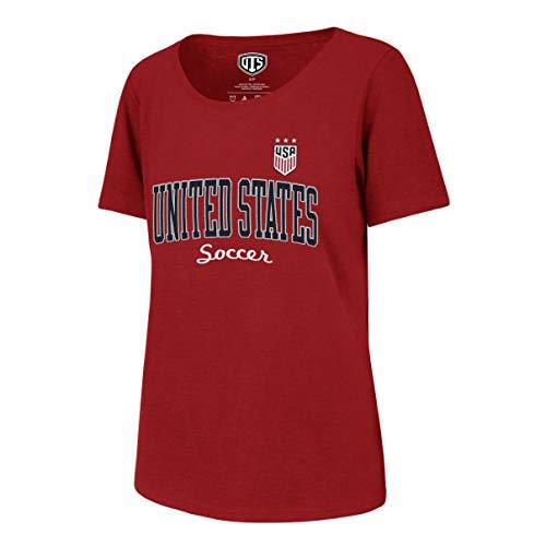 White Scoop Neck Tee (World Cup Soccer Damen T-Shirt USSF OTS Slub Scoop, Damen, USSF Women's OTS Slub Scoop Tee, Distressed Thinned - Red, Small)