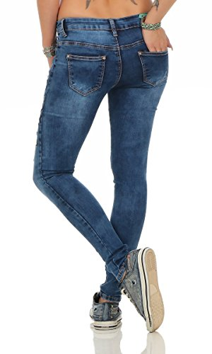 11355 Fashion4Young Jeans Damenjeans Hose Röhrenjeans Skinny Boho Stickerei pants Röhre Dunkelblau