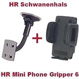 HR Richter Universal Handy Smartphone PDA KFZ Halter Halterung Mini Phone Gripper 6 1245/46 und Schwanenhals für LG BL-40 BL40 New Chocolate C3100 C-3100 C550 C-550 E720 E-720