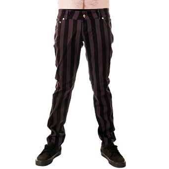 Jist - Jeans Pour Hommes Gris Noir Fines Rayures Style Punk Rock Disco - Grau Und Schwarz, 28W x Regulär
