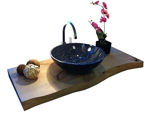 Waschbecken aus Naturstein, Granit, Model Rio klein, Pearl Blue, Ø36cm -