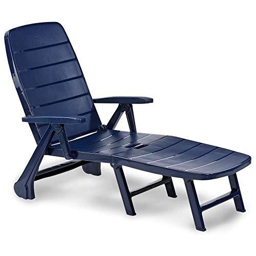 ALL-JingHong Sonnenliege verstellbar Gartenliege Klappbar mit Fußablage Kunststoff Blau JH-697