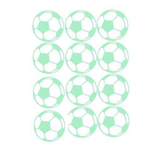 Nachtleuchtend Aufkleber Leuchtsterne Leuchtaufkleber Katze Sterne Schmetterlinge Wandsticker - 12x Fußball ()