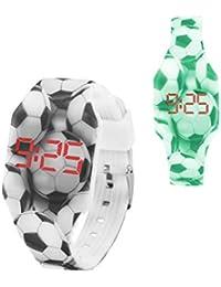 KIDDUS Reloj LED Digital para niña o niño. Pulsera de Silicona Suave. Batería Japonesa reemplazable. Fácil de Leer y Aprender Las Horas. Efecto Fluorescente. KI10216 Futbol