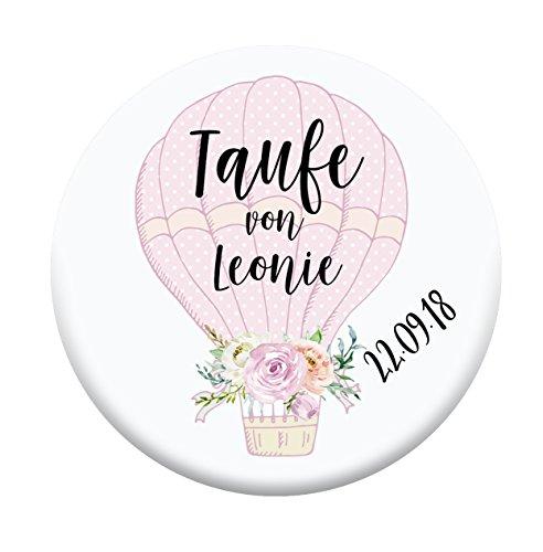 Taufe Kommunion Gastgeschenk Magnet 59mm Personalisiert Geschenke Gast-Geschenke Magnete Heissluftballon rosa balu Name Junge Mädchen Baby babyshower deko personalisierte geschenke baby