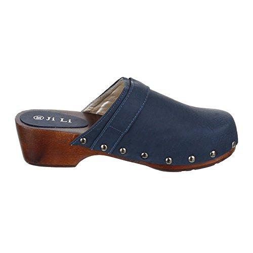 Chaussures pour enfants, JL de 161–1, Sandales sabots mules à talons avec déco Bleu - Blau 1