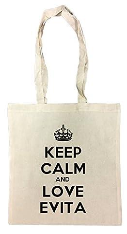 Keep Calm And Love Evita Einkaufstasche Wiederverwendbar Strand Baumwoll Shopping Bag Beach Reusable
