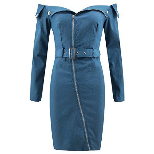 Europäischer und amerikanischer Frauen-Schlauchoberteilreißverschlussrock langärmeliger Denimgürtel beiläufiges Kleid (M, Blau) -