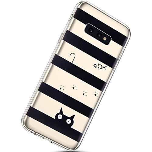 Herbests Kompatibel mit Samsung Galaxy S10e Hülle Silikon Handyhülle Durchsichtige TPU Case Clear TPU Schutz Handytasche Crystal Clear Schutzhülle Weiche Silikon Bumper Case,Katze Fisch