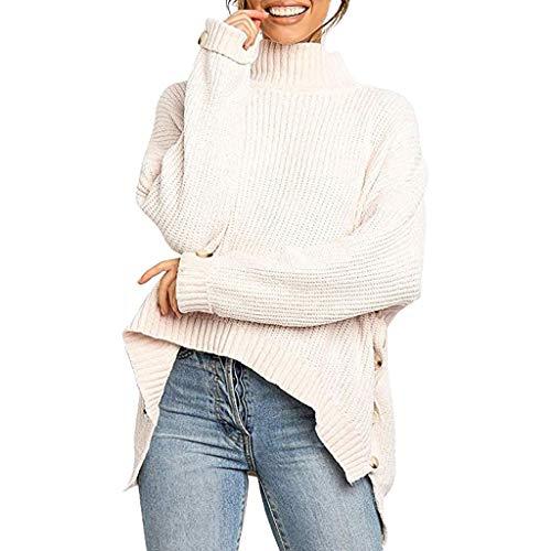 Berimaterry Pullover Damen Langarm Rollkragen Einfarbige Strickpullover Frauen Herbst Winter Warm Pulli Knöpfe Unregelmäßig Saum Sweater Knitted Bluse Top -