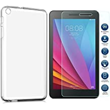 """SOCINY HUAWEI MediaPad T1 7.0 (7"""" Screen) Case with screen protector, (2 in 1 Pack) Huawei MediaPad T1 7.0 TPU Silicone Case Protective Cover transparent+9H screen protector (para Huawei MediaPad T1 7.0)"""