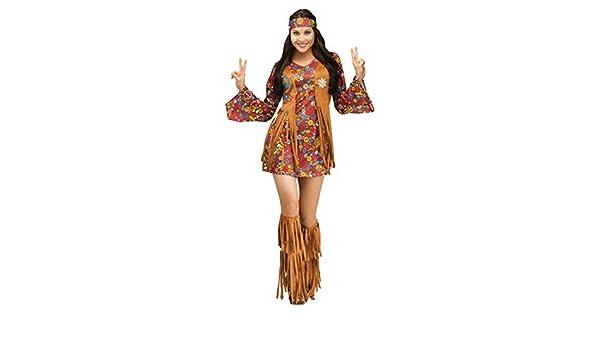 Peace /& Love Hippiekleid für Fasching /& Karneval