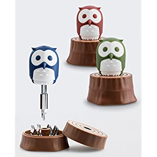 Original Maroon Owl Tree Trunk Shape Portable 8-Piece Phillips Flat Stubby Screwdriver Bit Desktop Accessory Set with Extension Bar