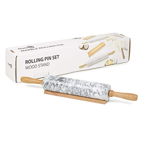 Homiu Marmor Nudelholz zum Backen mit Holzständer 46,5 x 6 x 6 Zentimeter Leicht zu reinigendes, strapazierfähiges Speckle-Finish Antihaft-Weiß