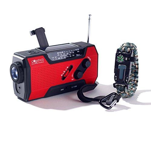 Compass Culture Brand NOAA Solar und USB 2000mah Wetterradio, Energiebank, Telefonladegerät und LED-Taschenlampe mit SOS-Überleben mit Feuerstarterpfeife (Radio Best-fm Portable)