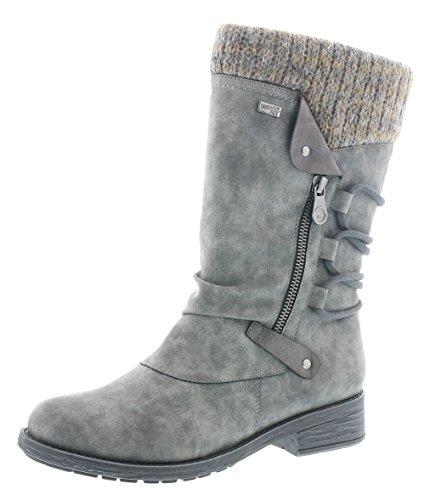 Remonte Damen Winterstiefel D8070,Frauen Winter-Boots,Fellboots,Fellstiefel,gefüttert,warm,wasserabweisend,Blockabsatz 3.5cm,Smoke/fumo/Graphit / 45, EU 40