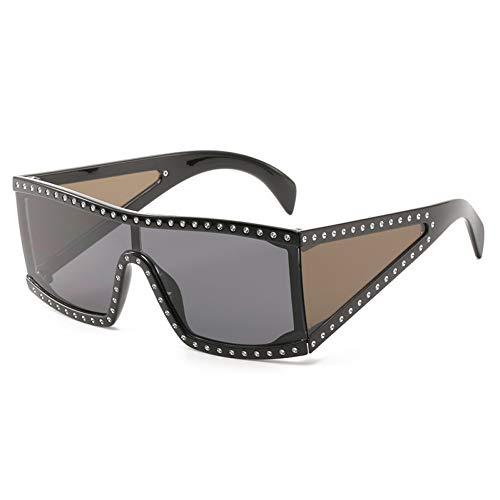 Yuanz Übergroße Sonnenbrille Für Frauen Männer Retro Markendesigner Vintage Sonnenbrille Weiblich Männlich Big Frame Black Eyewear,W
