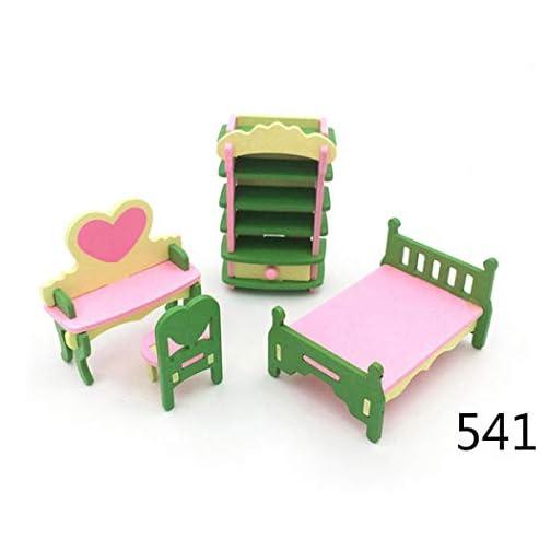 Fantiff – Arredamento per casa delle bambole, bagno, camera da letto, cucina, gioco per bambin