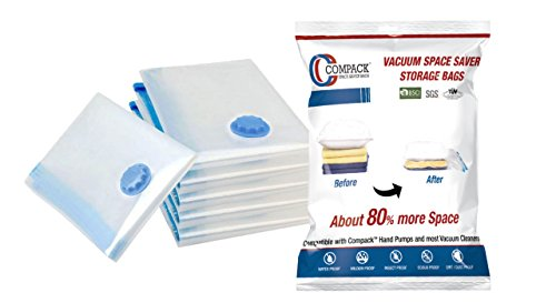 COMPACK Vacuum Compressed Space Saver Extra Strong Double-Zip Seal Storage Bags-Set of 6