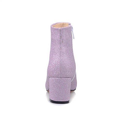 AllhqFashion Damen Niedrig-Spitze Mittler Absatz Spitz Zehe Stiefel mit Paillette Lila