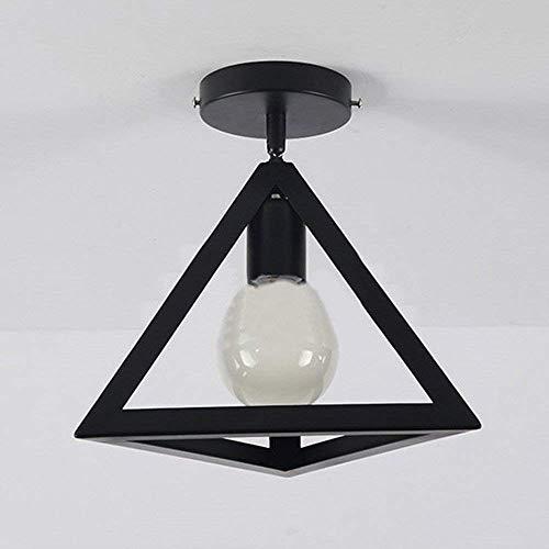 W-LI Semi Flush Mount Deckenleuchte Metal Style Triangle Fixture Industrial Vintage mit 1 Licht, Schwarz -
