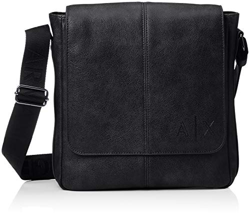 Armani Exchange Herren Messenger Bags Business Tasche, Schwarz (Nero), 26.0x9.0x26.5 cm