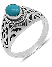 TJC Arizona Sleeping Beauty Turquoise Solitaire Ring in Silver 0.830 Ct.