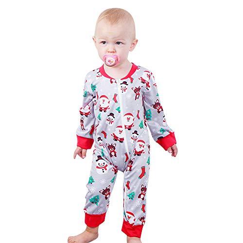 Beginfu Neugeborenes Baby Jungen Mädchen Weihnachten Herbst und Winter Warm Bleiben Langarm Santa Print Jumpsuit Outfit Kleidung Strampler Bekleidungssets Baumwolle Langarm Baby Outfits