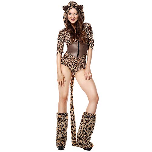 Piece One Kostüm Sexy - ZSTY Rollenspiele, Halloween-Kostüm Sexy One-Piece Leopard Cat Girl Hairy Animal Performance Kleidung Unisex,XL