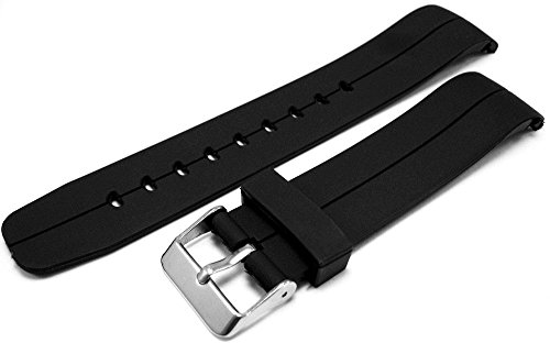 black-curved-end-polyurethane-rubber-divers-watch-strap-band-22mm