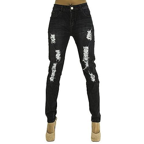 LustyChic Womens Black Dark Denim Frayed Ripped Plus Size Jeans Ladies UK Sizes  14-18 (22, Black)