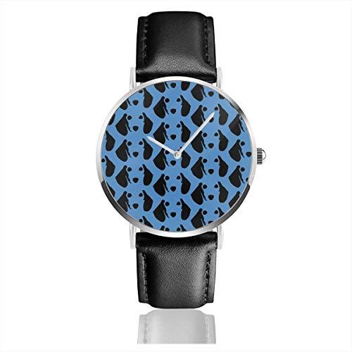 Armbanduhr Quarzuhr Dackel blau Casual Uhren für Herren Damen Damen mit schwarzem Leder -