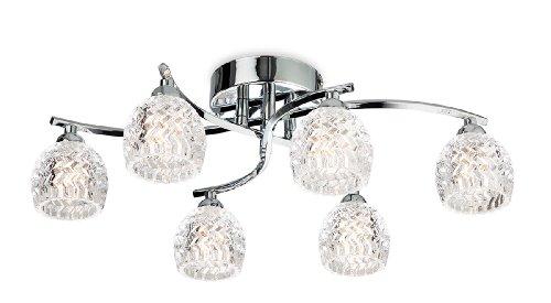 6-licht Halogen-flush (Firstlight Deckenleuchte, mit sechs Lampen, G9, 33 Watt, Halogen, Chrom mit klarem Glas)