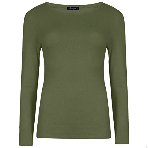 Da donna Manica lunga elasticizzato tinta unita rotondo Scoop Neck t shirt da donna con angoli, misura 8, 10, 12, 14 Khaki - Winter Comfy Warm Outing Party