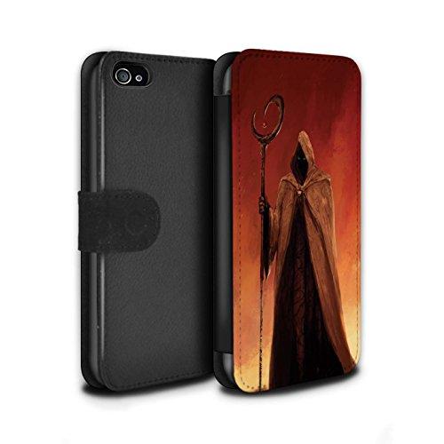 Offiziell Chris Cold PU-Leder Hülle/Case/Tasche/Cover für Apple iPhone 4/4S / Gehörnter Dämon Muster / Dämonisches Tier Kollektion Gevatter Tod