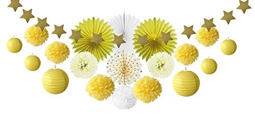 SUNBEAUTY Deco Jaune Salon Blanc Chambre Maison Mariage Decoration Bapteme Baby Shower Pompon Papier de Soie Rosace Lampion Boule Lanterne Chinoise