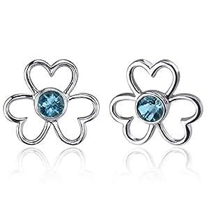 Revoni Composition Floral - Boucles d'oreilles avec Topaze bleu de Londres rond 1,00 cts. - Inspiration pour femme - Argent Fin 925/1000