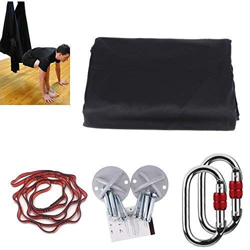 Kikigoal, amaca da yoga, amaca oscillante con carico di 500kg. misure: 500× 280cm. yoga in volo, antigravità. cinghia da yoga, cinghie di seta per yoga in volo, nero
