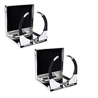 Amarine-made Pair of Bigger Stainless Steel Adjustable Folding Drink Holders Marine Boat Caravan car for Mug Cup up to Dia 3-3/8