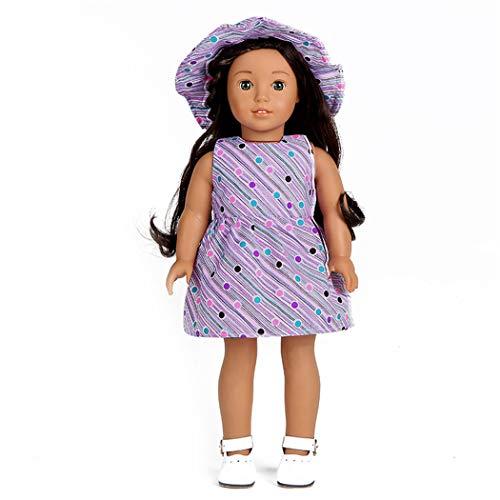 Zolimx Puppenkleid für 18 Zoll American Doll Zubehörteil Mädchens Spielzeug Sommerkleidung Kleid Rock und Hut
