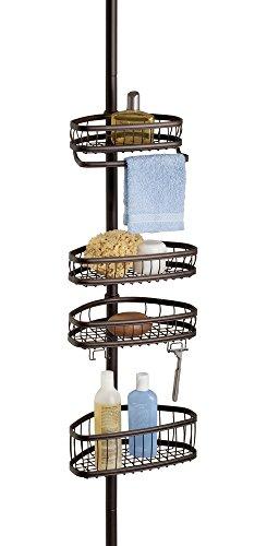 mDesign étagère de douche télescopique – serviteur de douche, montage sans perçage –...